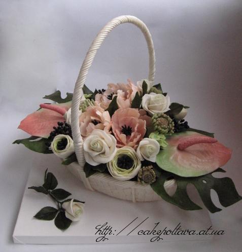 Торт корзина с экзотическими цветами